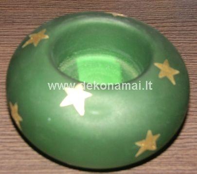 Žvakidė stiklinė žalia su žvaigždėm