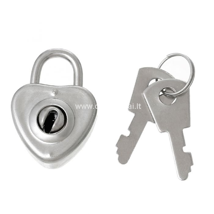 Išmatavimai: 3.1x2.2cm, komplekte du raktai spynelei.