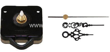 Rodyklės laikrodžiui juodos spalvos.<br />Rodyklių ilgis 4 cm. 5,5 cm. ir 7.5 sekundinė cm. <br />Mechanizmas 6,5 cm.x5,5 cm. <br />Be baterijos.