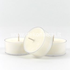 Rankų darbo kvepianti arbatinė žvakelė pagaminta iš natūralių medžiagų ( sojų vaško), nenaudojant parafino ir kt. kenksmingų medžiagų. Žvakė kvepia tiek degdama, tiek užgesusi. Degimo laikas 4-5 val. 13g.