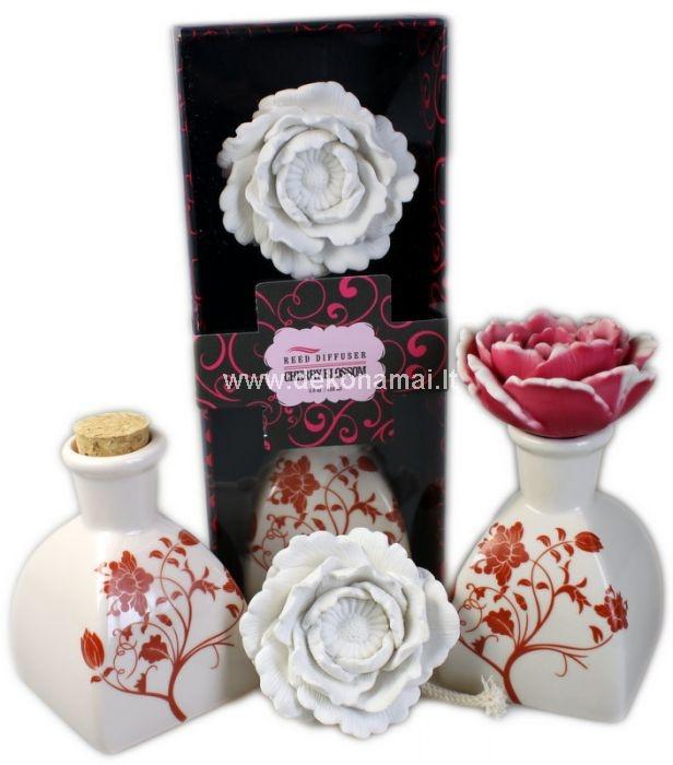 <p>Kvepalai namams keraminėje vazelėje su gėle.</p><p>Kvepalai namams supilti į stilingą keramikinę vazelę ir sandariai uždaryti mediniu kam&scaron;teliu. Nuimkite kam&scaron;telį ir į vazelę įmerkite gėlyte, per 24-36h gėlė prisigers kvepančio aliejaus ir pakeis spalvą. </p><p>Tūris: 100 ml kvepalų. </p><p>Supakuota kartono ir skaidraus plastiko dėžutėje.</p><p>&nbsp;</p><p>&nbsp;</p><p>Keraminė gėlė per 24-36h prisigeria kvapnaus aliejaus, ir skleidžia aromatą.</p>
